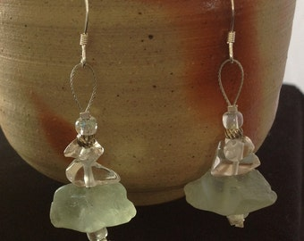 Sea Green Fluorite & Quartz Cairn Earrings