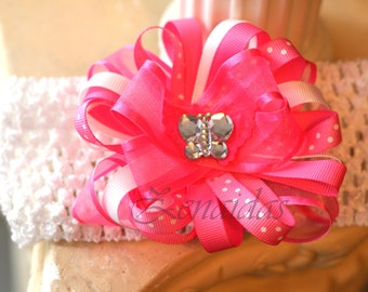 Pink Butterfly Flower Bow with Crochet Headband