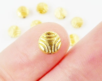 10 Round Etched Bead Spacers - 22k Matte Gold Plated