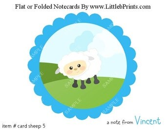 Sheep Lamb Note Cards Set of 10 personalized flat or folded cards