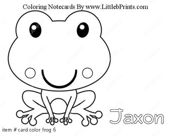 Frog Color Your Own Note Cards Set of 10 personalized flat or folded cards