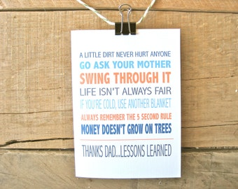 Funny Father's Day Card. Funny card for Dad. Advice from Dad Card.