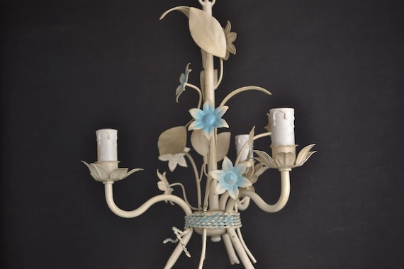 Beautiful painted toleware chandelier from france