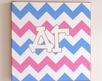 hand painted Delta Gamma letters outline with chevron background 12x12 canvas OFFICIAL LICENSED PRODUCT