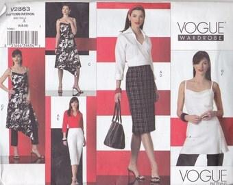 Uncut EASY VOGUE WARDROBE Pattern - v2863 Misses Shirt, Top, Dress and Pants - Size 6 8 10