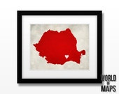 Romania Map Print - Home Town Love - Personalized Art Print Available in Different Sizes & Colors