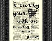 I Carry Your Heart e.e. cummings Quote, I Carry Your Heart With Me Art Print, Wall Decor, Antique Dictionary Page, Valentine's Day