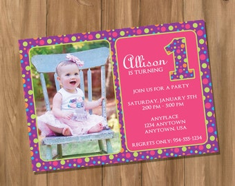 Polka Dot Cutie Birthday Party Invitation with Photo (Digital - DIY)