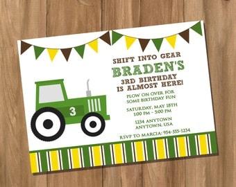 John Deere Inspired Tractor Birthday Party Invitation (Digital - DIY)