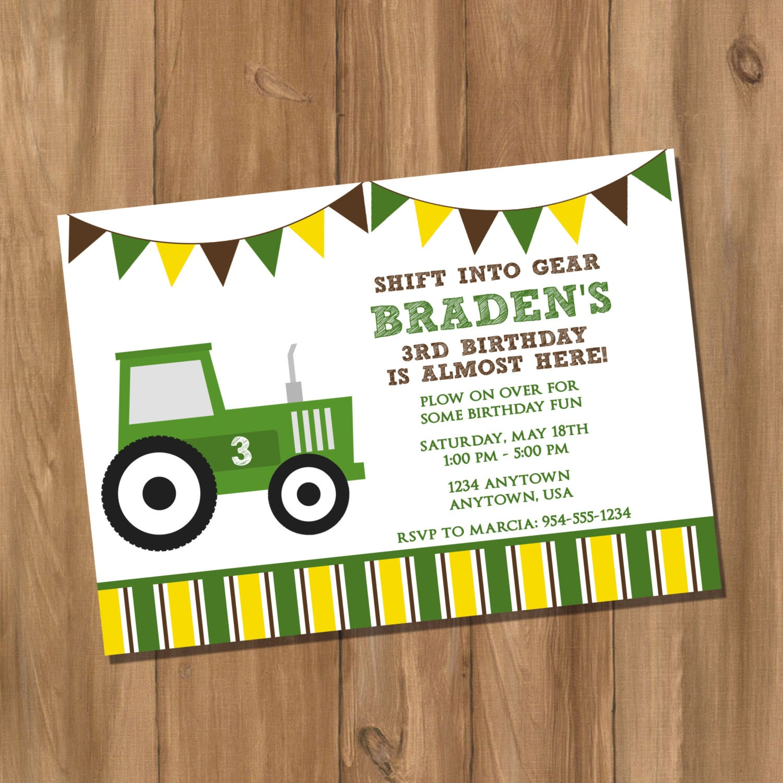 John Deere Inspired Tractor Birthday Party Invitation Digital