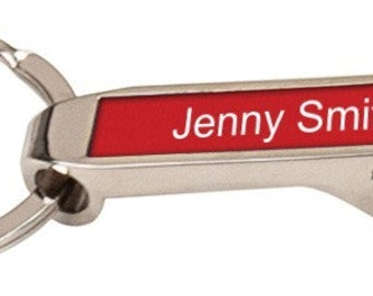 Personalized Silver / Red Bottle Opener Keychain - Free Laser Engraving