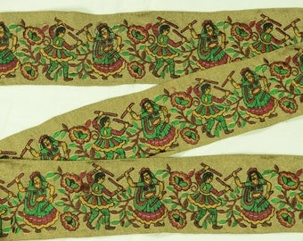 "3 Yd 3"" Wd  Exquisite Indian Embroidered Trim Dancing Themed Lace Border Green  TN398"