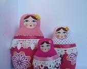 A Set of Pink&White Soft Matryoshkas (cloth Russian babushka dolls)