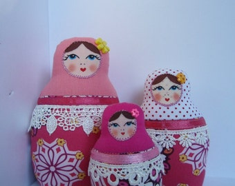A Set of Pink&White Soft Matryoshkas (cloth Russian babushka dolls)