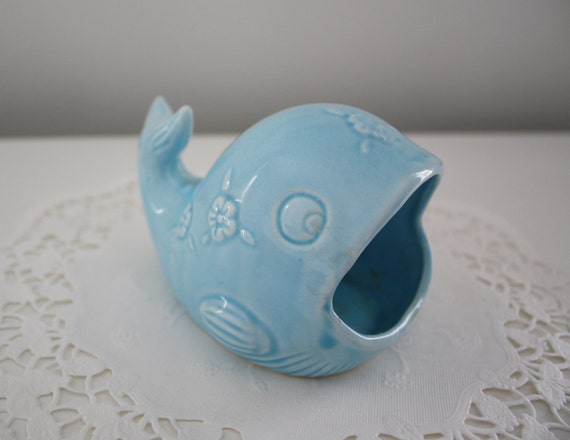 Vintage ceramic blue whale kitchen sink sponge or scrubber - Frog sponge holder kitchen sink ...