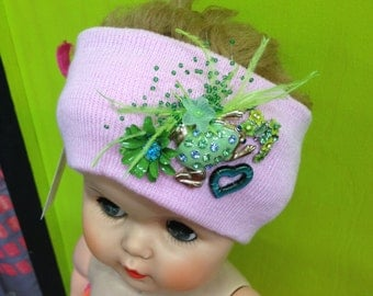 Pale Pink & Green Decorated/Embellished Knit Headband Stretch Ear Warmer with Feathers, Flowers, and Jewels