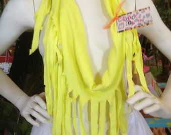Bright Yellow Shredded Couture Recycled T-Shirt  Fringed Jersey Knit Shredded Infinity Scarf/Necklace