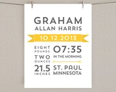 Birth Announcement Print - Nursery Art - Yellow and Gray, 8x10