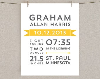Birth Announcement Print - Nursery Art - Yellow and Gray, 8x10
