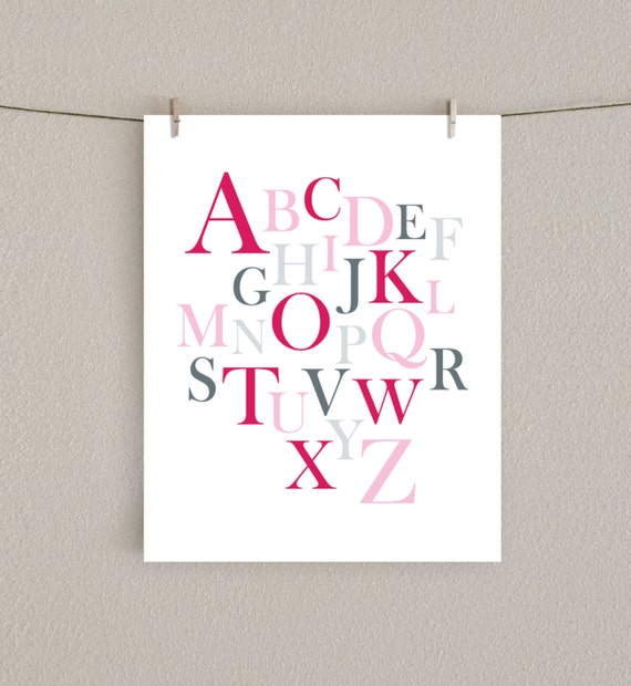 Modern Alphabet Nursery Art Print - Baby Girl Decor - Pink & Gray, 8x10