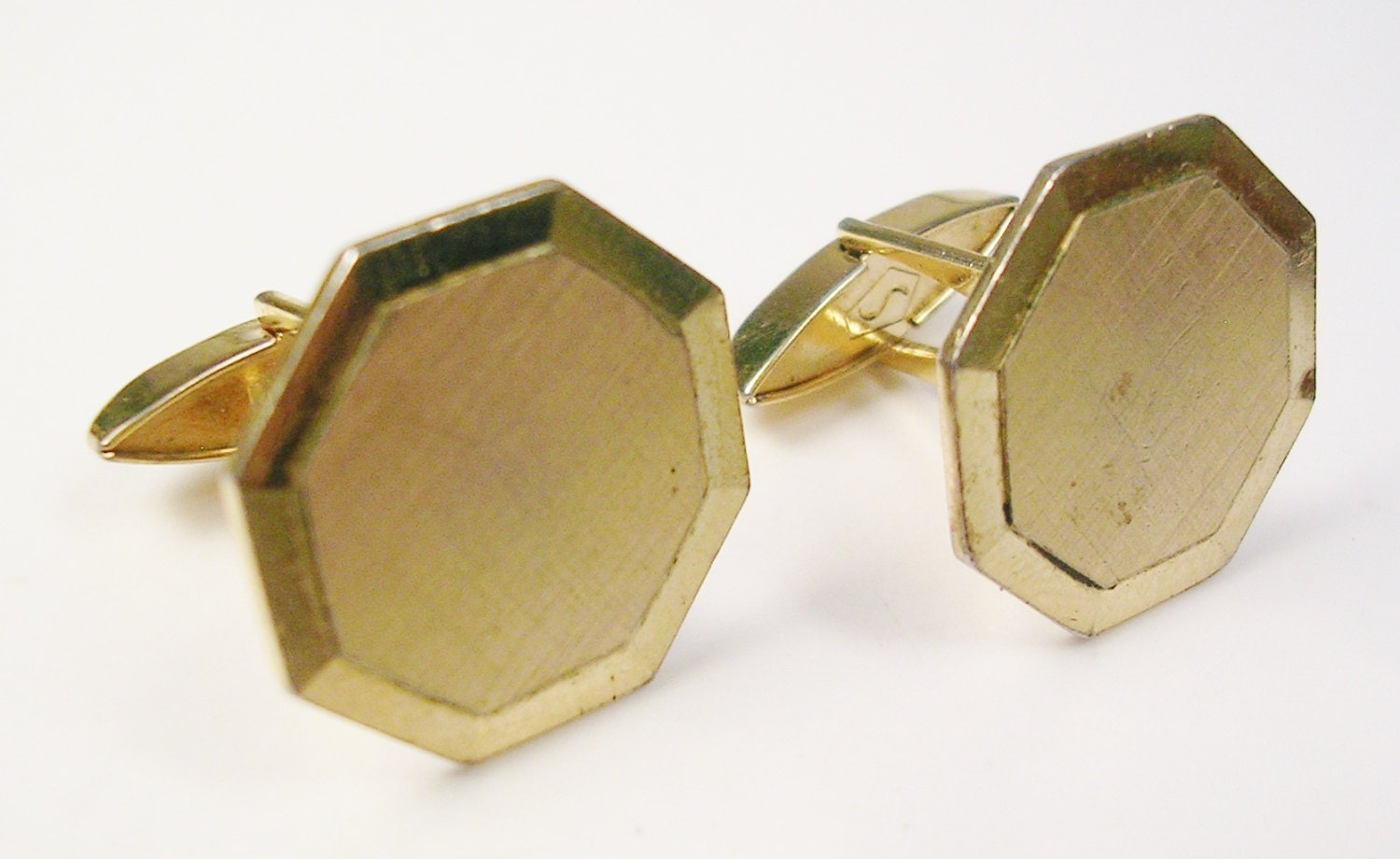 Vintage swank cufflinks gold plate octagonal wedding for What is swank jewelry