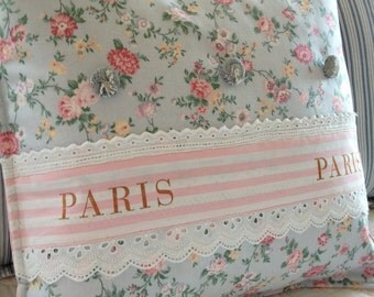 French Country Pillow Cover, Shabby Chic Pillow Cover, Paris Ribbon Pillow Cover, Blue Pillow , Pink Pillow,  Paris Apartment Pillow Cover,