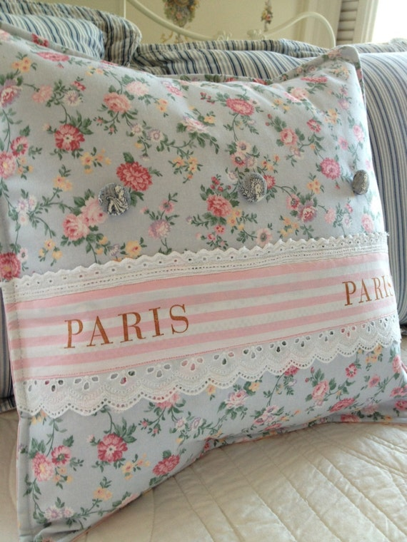 Shabby Chic Beach Pillows : French Country Pillow Cover Shabby Chic Pillow Cover Paris