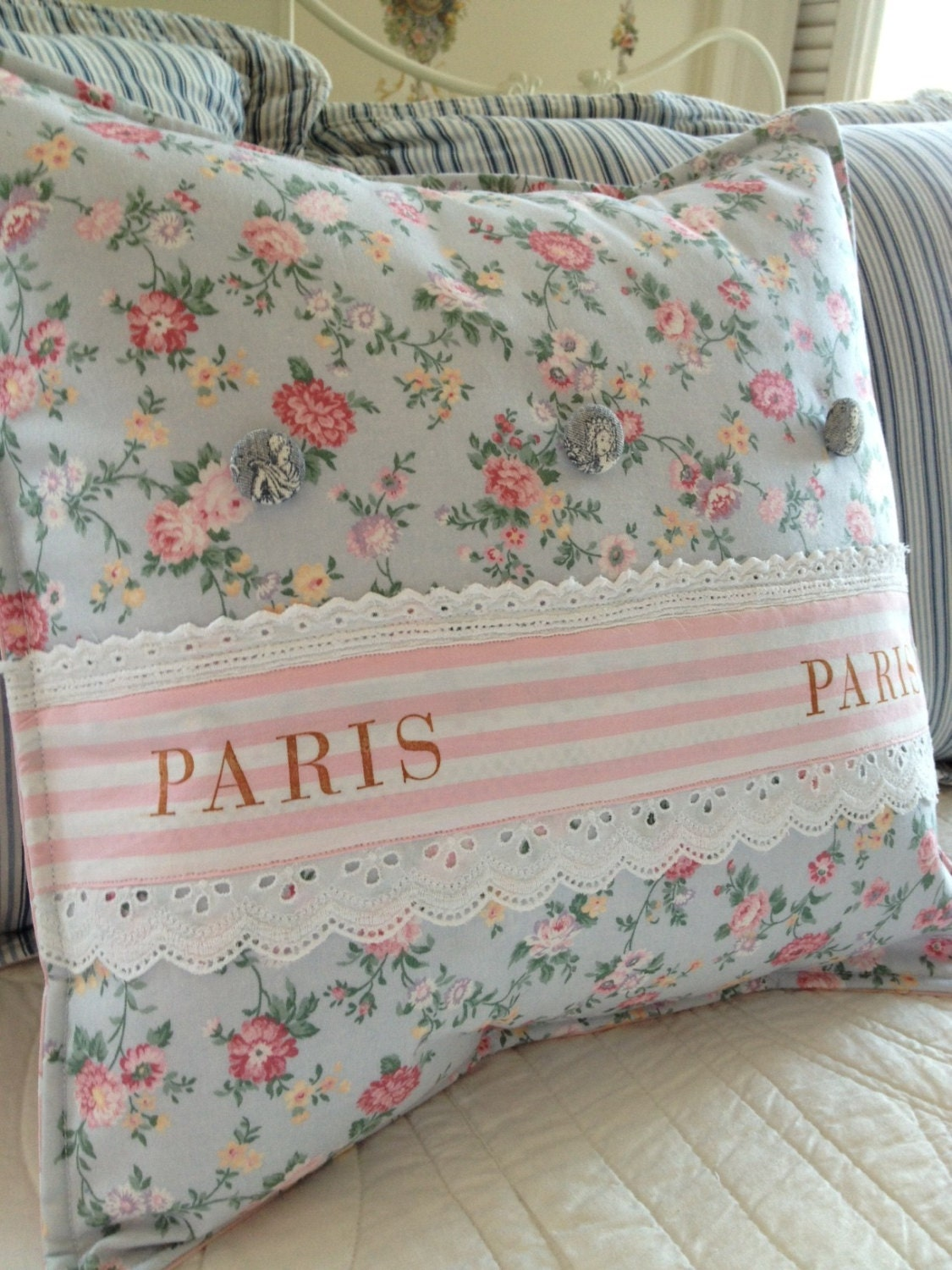 Shabby Chic Pillow Images : French Country Pillow Cover Shabby Chic Pillow Cover Paris