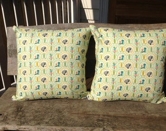 """Pair of Playful Cushion Covers with Skunks, Owls and Racoons by """"Riley Blake"""" with an """"Amy Butler"""" Polkda Dot on the Back"""