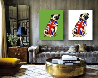 GREAT BRITISH Patriot PUG - A2 Canvas - From The Fugly Pugs Series