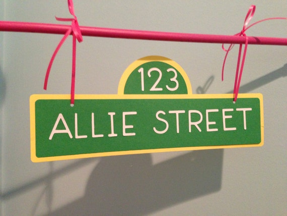 Personalized Street Signs >> Items similar to Personalized Sesame Street Sign for pole Birthday on Etsy
