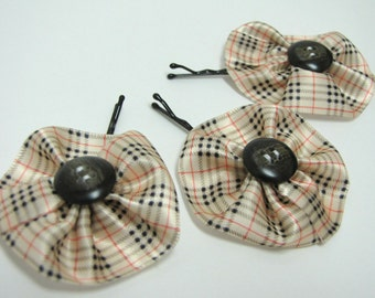 Satin flower hair pin with button center - plaid