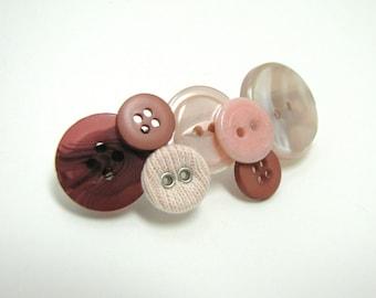 Pink Vintage button barrette - OOAK