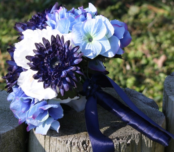 Dark Blue Flowers For Wedding Bouquets: Items Similar To Bridal Bouquet Real Touch Flowers White