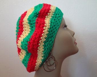 Rasta Hat - Slouchy - Rastafarian Crown - 100% Cotton Yarn - Dread Hat - Tam Hat - Handmade