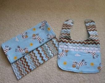 Baby bib and burp cloth set, Flannel Zebras, Chevron, Baby shower Gift, Mom and Baby
