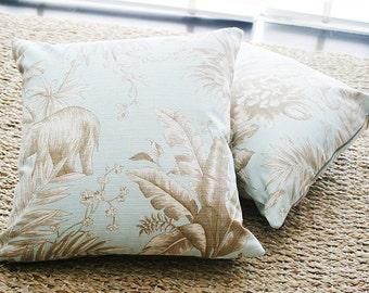 """16""""x16"""" Elephant Blue Throw Pillow Cover"""
