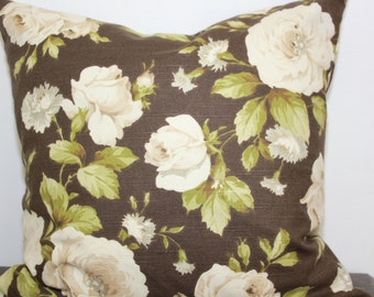 Pillow Super Soft Chocolate Brown and Cream Roses  Beige Green Cotton