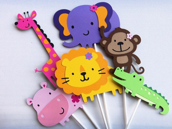 Items similar to jungle animal toppers set of 6 medium for Baby shower decoration cutouts