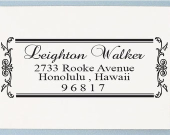 Calligraphy Address Stamp - Personalized Return Address Stamp - Custom Wedding Address Stamp - AS10