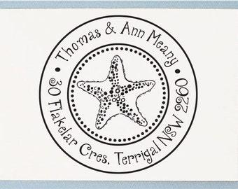 Custom Personalized Return Address Mounted Rubber Stamp - Starfish Design - AA36