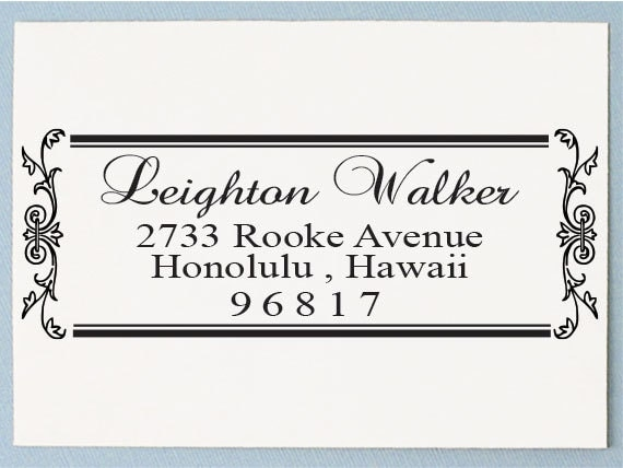 Calligraphy Address Stamp Personalized Return Address Stamp