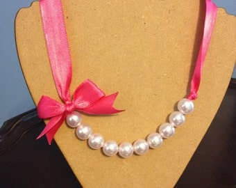 Hot Pink Pearl Ribbon Necklace