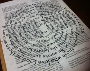 Romans 8:26-28 Spiral Scripture Bible Verse on Wood Plaque