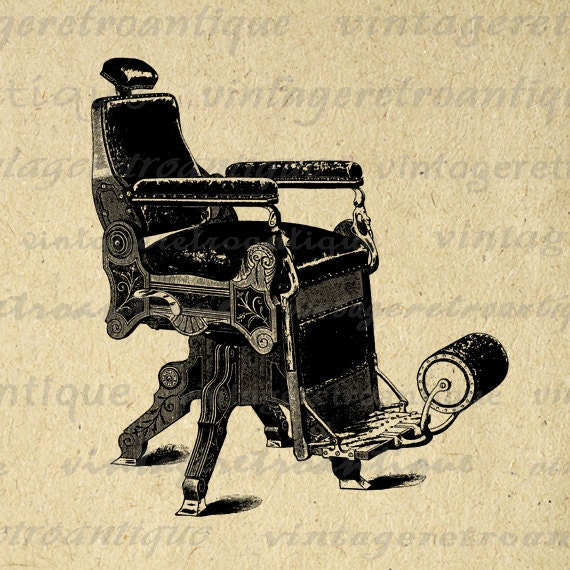 Digital graphic antique barber s chair printable hair salon download