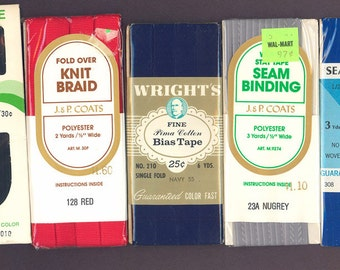 Seam Binding or Hem Tape, Knit Braid, Bias Tape, Twill Tape - 5 unopened full packages (Lot 3)