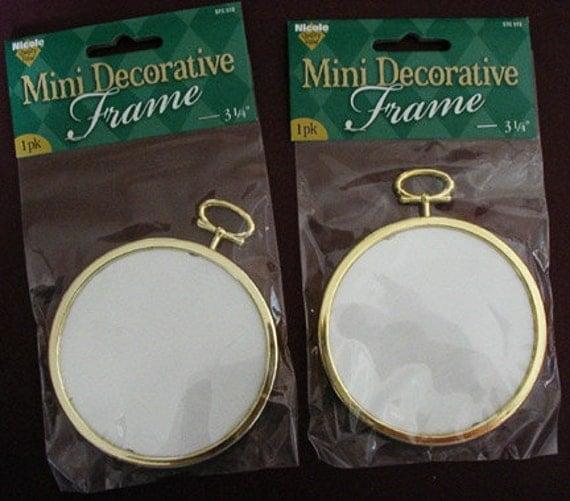 Two Round Mini Decorative Gold Tone Plastic Frames