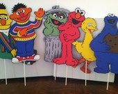 "Sesame Street's The Whole Gang - Set of (6) - 11"" Centerpiece Picks or Decorations"