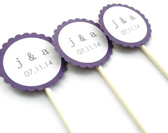 12 Wedding Initial Cupcake Toppers, Save the Date, Wedding Party, Rehearsal Dinner Toppers, Personalized Toppers, Bachelorette