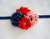 "4"" X 3""  Red,White and Blue...photo prop,newborn headband, baby girl headband,teen, adult, hair clip"